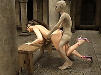 Adorable hot beauty exposed to hardcore monster ass to mouth fucking fed with hot jizz