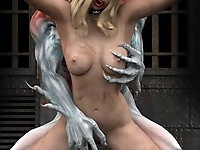 Evil monsters torture and fuck hot sexy beauties in their pussies and anuses jizzing their holes