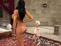 Awesome booby 3d whore seduces a tiny ugly goblin and gives him her tight juicy ass