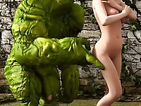 Ooze green monster fucks a cute babe and penetrates all her fucking holes till oozy cumming