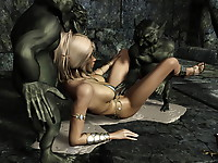 Nasty elfin beauties fucked hard by nasty goblins and cumming with hot pussy juice