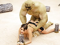 Horny human whore starves from disgusting double penetration of ugly huge ogres in her pussy and ass