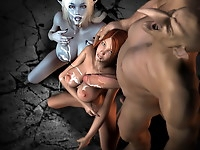 Cute sluts starve for big monster cocks in hardcore fuck and tons of jizz on their faces