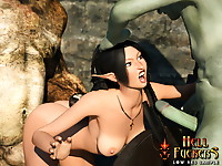 Awesome elven slave with big jubes used in all holes and facialized