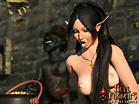 Horny elven cutie with big bum gangfucked as a whore