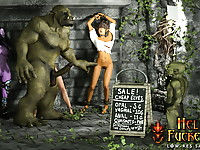 Hott Warcraft cocksucker with cute tits fucked by big cock in tight ass and cried as she swallow orc's cum