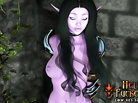 Gorgeous night elf beauty with large jubes moans deeply when gets anal penetration by goblin and lizzardman