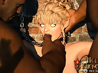 Exotic elven slave gets a nasty and brutal oral fuck job and getting messy facials