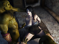 Cryptic threesome scene with gorgeous black-haired gal and two green behemoths