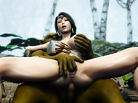 Fantastic 3D scene with busty bombshell and terrible monster