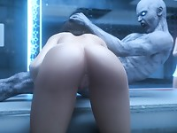 Evil 3D monster is shoving his dick in her wide opened mouth