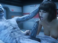 Perverted 3D monster getting a gorgeous blowjob by hot lass