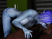 Bald 3D guy got his hard cock deeply sucked by elf girl and now fucking her in rather naughty poses