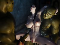 Sexy slender brunette with precious boobs is experiencing threesome fuck with two ogres