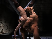 3d girl in exciting black stockings is tied up upside down and getting fucked in mouth by ugly monster
