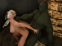 Ugly bald and fat giant ogre is having wild fuck with tiny butterfly elf babe