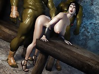 Crazy ork with green wiener is fucking a poor chick in doggystyle and cumming all over