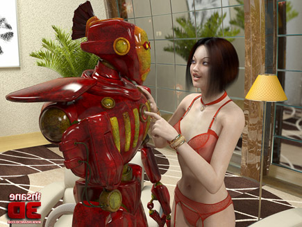 Husband watches robot give his sexy wife a rough fuck