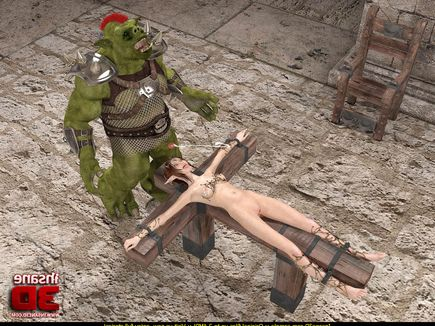 Grotesque orc gets to stick his green dick in a stunning elf babe's twat.