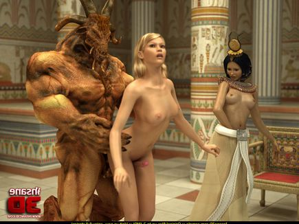 Exotic dickgirl punished via threeway in Egyptian palace