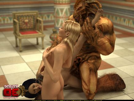 Horny Egyptian queen uses monster to double-team a tgirl