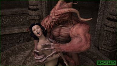The ancient and mighty Cthulhu has his way with a smoking hot brunette naughty angel.