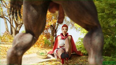 Little Red Riding Hood sucks and rides Big Bad Wolf's monster cock .