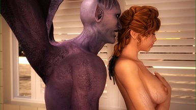 Winged demon uses his monster prick on an attractive brunette babe.