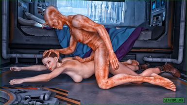 This space bitch just enjoys alien's disgusting boner drilling her from behind.