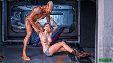 Sexy human astronaut getting power-fucked and cumsprayed by a bigcocked alien invader