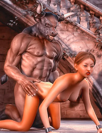 Horrid minotaur gets his throbbing joystick pleasured by a kinky stunner.