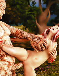 Pretending to be just another stone in the landscape, a stone golem jumps out and fucks a redhead with huge melons.
