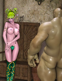 3D goddess with green hair fucked in the DP style by the giant monsters