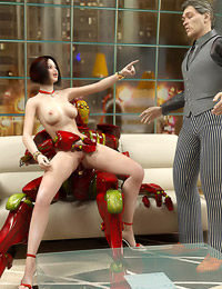 Hard horny robot pounds the wife in front of the hubby