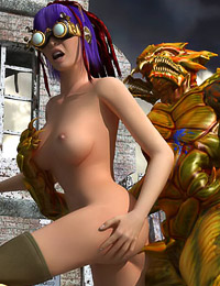 Giant horny creature ravages an ultra hot mutant huntress