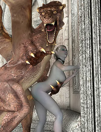 Horny dragon puts its shaft into a hot female adventurer