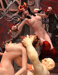 A demon and a domina subdue a sexy female sinner