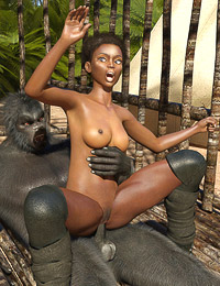 Jungle monster gives a black girl tons of raw pounding