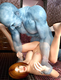 Blue glowing creature gives Angelina a hard tub fucking