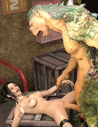 Sexy female survivor fucked and cum-covered by a monster
