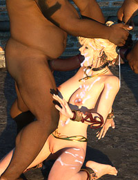 Awesome elven bitch with large bum used as fuck hole for three blacks