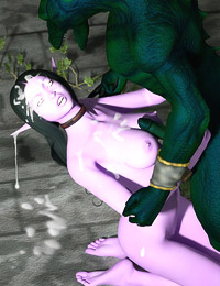 Attractive night elf with large tits deep screwed in all holes and getting cumshots to her elven face from lots of ugly creatures