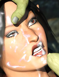 Curvy elven slave has face covered in hot jizz