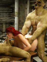 Evil orcs are nasty banging a hot human in their dungeon