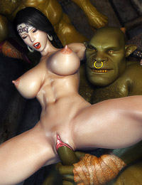 Perfect babe with big tits and tiny pussy screwed hard by green-skinned monsters