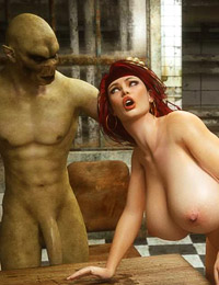 Adorable girl finds herself fucked by some massive orc dicks