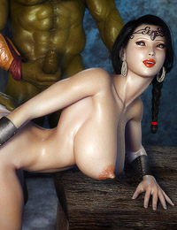 Green ogres with giant dicks are fucking hard super hot and busty brunette mistress