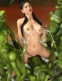 Green trolls with huge cocks are cumshooting on teen girl's tight boobies