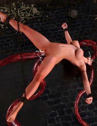 Beauty was roped and fucked in hardcore style by 3D monster