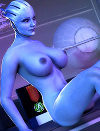 Sultry Mass Effect fuck-doll playing a kinky game with Shepard and Crew